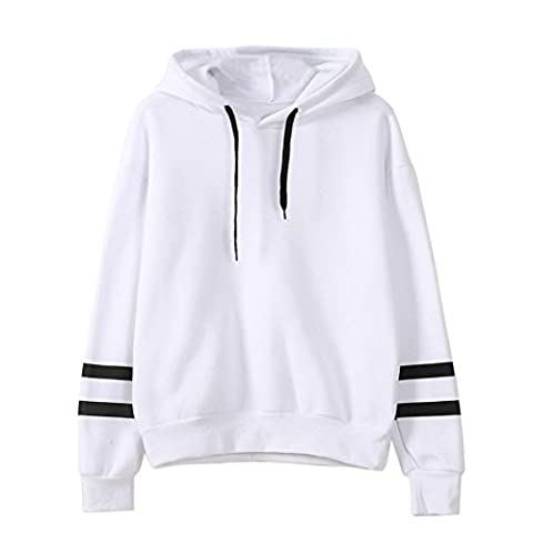 Tonsee Femmes de Long Hoodie Sweatshirt pull Pullover Tops Blouse à manches (L, Blanc)
