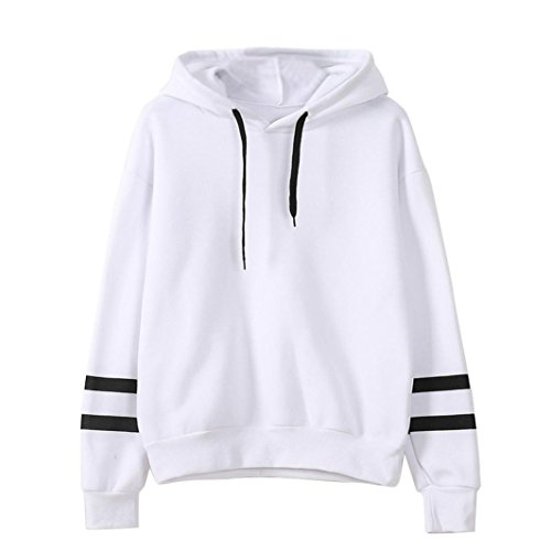 Tonsee Femmes de Long Hoodie Sweatshirt pull Pullover Tops Blouse à manches (S, Blanc)
