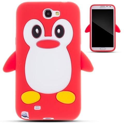 Zooky® - silicone Étui / Housse / Coque manchot penguin pour Samsung galaxy note 2 / II – Rouge