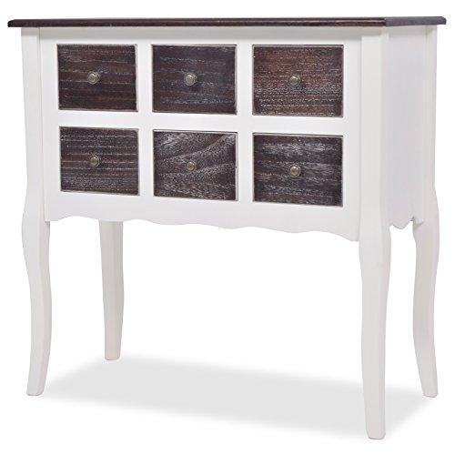 Vidaxl tavolo consolle in legno bianco marrone 6 cassetti vintage cassettiera