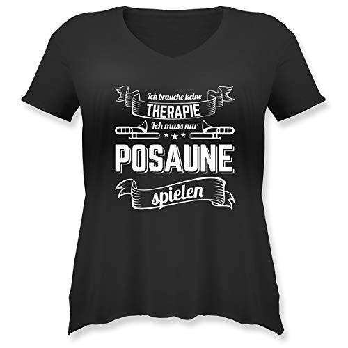 Instrumente - Ich Brauche Keine Therapie ich muss nur Posaune Spielen - S (44) - Schwarz - JHK603 - Weit geschnittenes Damen Shirt in großen Größen mit V-Ausschnitt