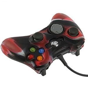 OSTENT Camouflage weichen Silikon Skin Tasche Tasche kompatibel für Microsoft Xbox 360 Controller – Farbe rot