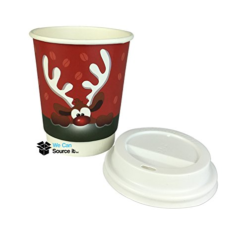 100 x 8oz Coffee Double Wall/ 'like Ripple' Paper Cups + 100 White Sip Lids Christmas Reindeer Cups Takeaway Coffee Cups