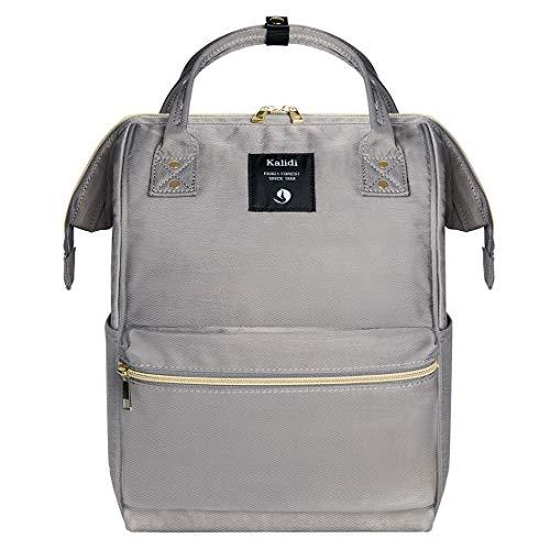 KALIDI Rucksack Damen Rucksack Herren Mädchen Jungen & Kinder Vintage Schulrucksack mit laptopfach für 15 Zoll Notebook,wasserdichte Schultasche,Grau -