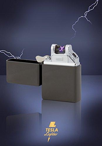 TESLA Lighter T03 | elektronisches USB Lichtbogen Feuerzeug, Schwarz