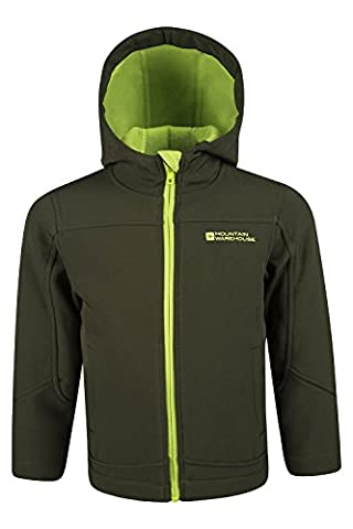 Mountain Warehouse Exodus Kids Soft-shell - Breathable, Shower Proof, Fleece Lined Hood - Wind Resistant, Chin Guard & Pockets - Ideal for cycling & outdoor activity Khaki 13
