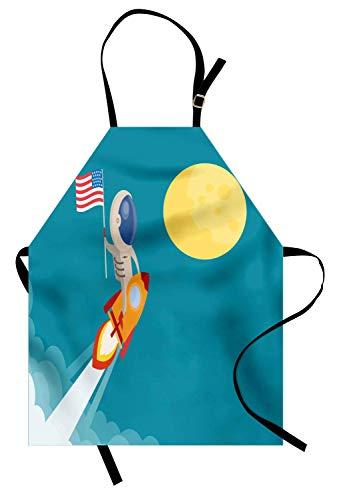 Ausländisches Schutzblech, Karikatur der amerikanischen Flagge gehalten von Astronaut, der eine Rakete zum Mond reitet, Unisexküchen-Latzschürze mit justierbarem Hals für das Kochen der backenden ()