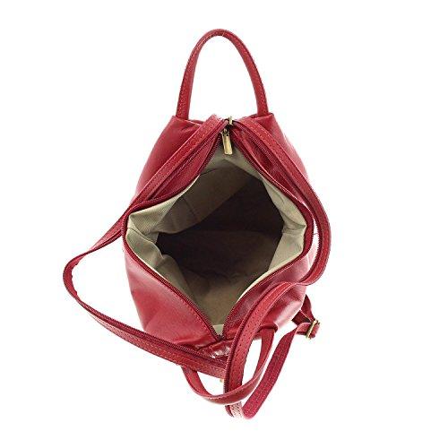 IO.IO.MIO leichter echt Leder Damenrucksack CityRucksack DayPack freie Farbwahl , 27-18x30x13 cm (B x H x T) Creme