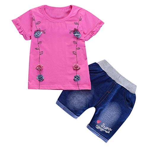 id Flower T Shirt Print Letter Denim Shorts 2PC Sets Outfits ()