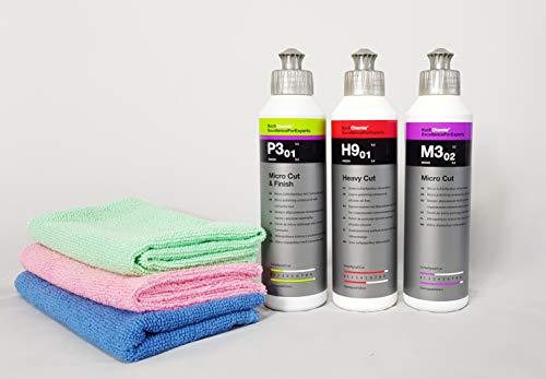 Koch Chemie Politur Set 3x250 ml Heavy Cut & Antihologramm&Cut&Finish +3Mikrofaser Tücher