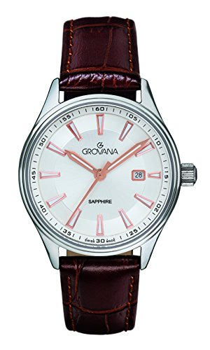 GROVANA Unisex-Adult Analogue Classic Quartz Watch with Leather Strap 3194.1527999999998