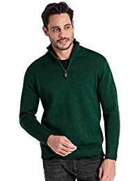 WoolOvers Pull à col zippé Country - Homme - Pure Laine