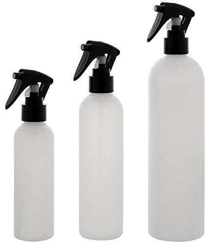 Leere Friseursprühflaschen 150 ml, 250ml u. 500ml, Kosmetex Sprühflasche, Plastik, zylindrisch, halbtransparent, 3er MixSet Transparent