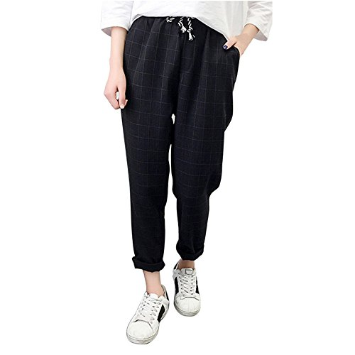 UFACE Frauen Casual Plaid Elastische Taille Lace up Lose Plus Size Full Length Pants