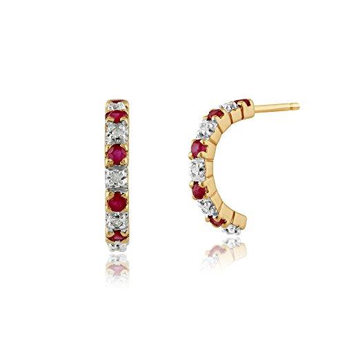 Gemondo Rubin Ohrringe, 9 Karat Gelbgold 0.28ct Karat Rubin & 4PT Diamant halber Reifen Stil Ohrringe (Rubin-diamant-ohrringe)