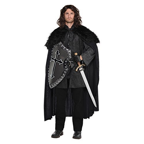 Black Fur Medieval Cape Mens Fancy Dress Game Of Thrones Style Adults Costume (Adult Kostüm Party)