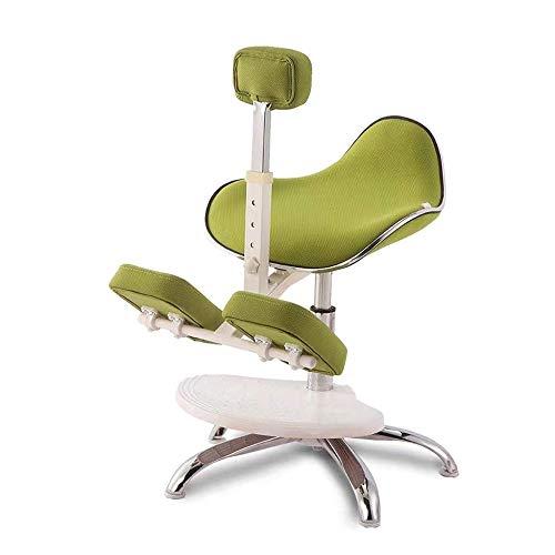 SCDBGY Bürostuhl Ergonomischer Kniestuhl Höhenverstellbare Kunstleder Dicke, Bequeme Kissen Reduzieren die Belastung von Rücken und Nacken (Color : Green)