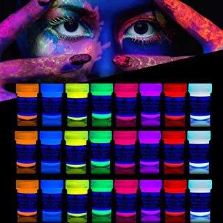painting Farbe | Schwarzlicht Schminke für Bodypainting und Gesicht | Fluoreszierende Neon Schminke im Set für knalligen Leuchteffekt | 24 x 20 ml Leuchtfarben ()