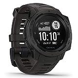 Garmin Instinct - wasserdichte Sport-Smartwatch mit Smartphone Benachrichtigungen und Sport-/Fitnessfunktionen mit GPS, 14 Tage Akkulaufzeit, Schwarz