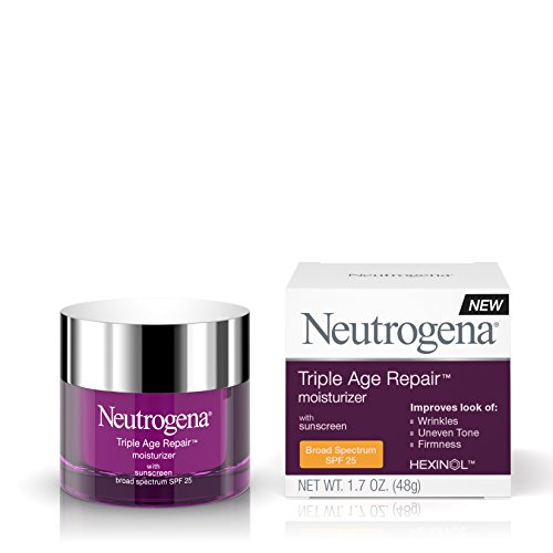 Neutrogena Triple Age Repair Anti-Wrinkle Daily Facial Moisturizer with Vitamin C and SPF 25 Sunscreen, help Smooth look of Wrinkles, Evens Skin Tone, Firms Skin, 1.7 oz
