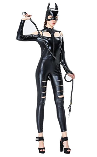 HAIYUANNAN Damen Sexy Black Catwomen Overall Kostüm PVC Latex Body Sexy Leder Catsuit