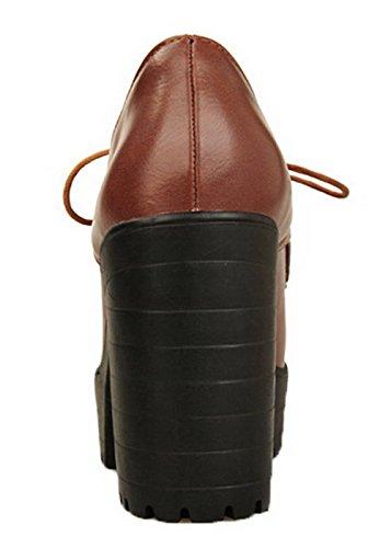 Laccio Tacchi Rotondo Cuoio Di Leggere Alti Agoolar Scarpe Solido Potrebbe Colore Giallo Donna qxnACETY