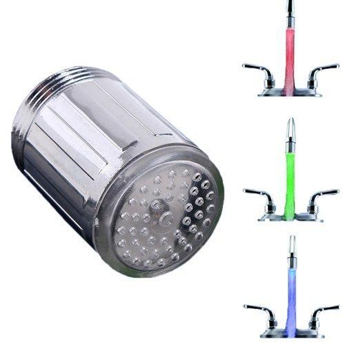 -Luz LED grifo de agua fregadero lavabo Temperatura y aireador de grifo