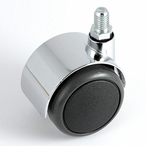 Stuhlrollen Chrom 50 mm Gewinde 10 ohne Bremse mit PU-Bereifung grau spurlos für harte Böden Hartbodenrolle