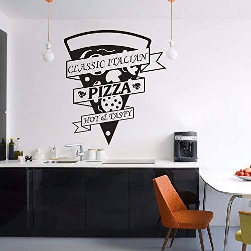 Yyoutop Klassische Pizza Vinyl Wandaufkleber Restaurant Küche Dekor Pizza Logo Fenster Vinyl Aufkleber Leckere Pizza Pizzeria Wand Poster 1 57x64 cm -