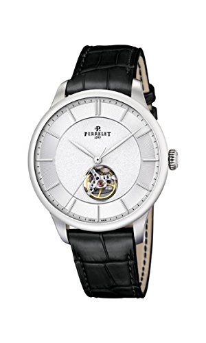 Perrelet First Class Open Heart Men's Automatic Watch with Yellow Dial Analogue Display and Black Leather Strap A1087/6A