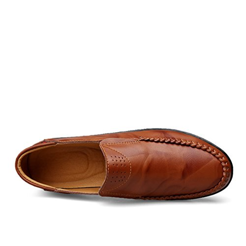 Minitoo Boys Mens Soft Sole Synthetic Comfortable Slip-On Loafers Dark Brown