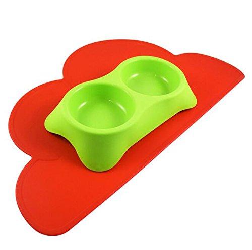 Xinjiener Wolken-Silikon-Fütterungsmatten-Haustier-Behälter-Anti-Beleg-Biss-Wasserdichte Matte (Rot)