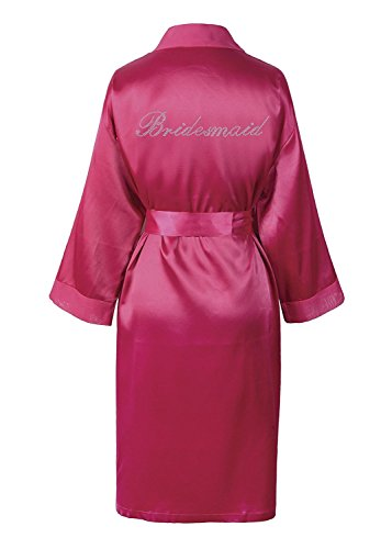 Pink Bridesmaid Satin Rhinestone Bathrobe Wedding Day Personalised Honeymoon Dressing Gown by...