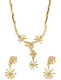 Viva Golden Swarna Necklace Set In CZ Crystal Diamonds With Gold Plated By For Women