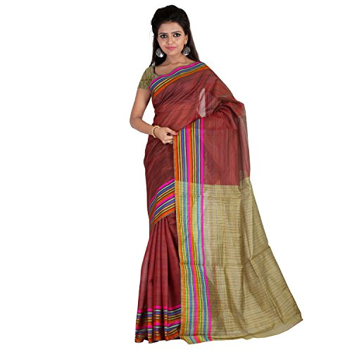 Florence Maroon & Beige Mysore silk Printed Saree  available at amazon for Rs.445