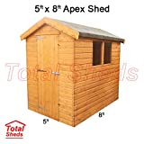 Total Sheds 8ft (2.4m) x 5ft (1.5m) Shed Apex Shed Garden Shed Timber Shed