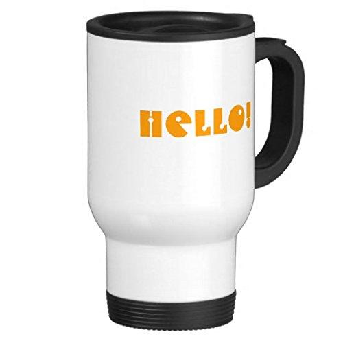 hiekon Hello en orange et blanc sur Mug de voyage en acier inoxydable, 14-Ounce