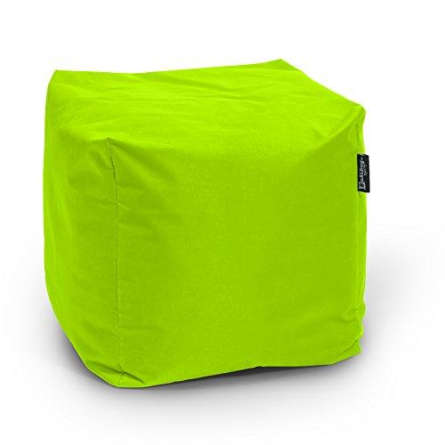 BuBiBag Sitzsack Würfel 45x45x45cm mit Füllung Cube Sitzwürfel Sitzkissen Bodenkissen Kissen Sessel BeanBag (kiwigrün)