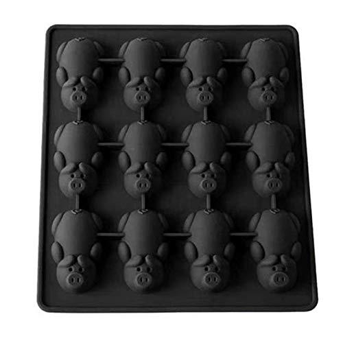 Mayouth-Silikon-Süßigkeiten-Form, Nette Piggy geformte Schokolade, Kekse, Brot, die handgemachte DIY Form backen (Schwarz)