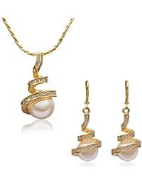 MARENJA Fashion-Cadeau de fête des mères-Parure Bijoux Collier et Boucles d'Oreilles pour Femme-Ressort-Plaqué Or Jaune 18K-Perle Blanche d'Imitation-Cristal Blanc