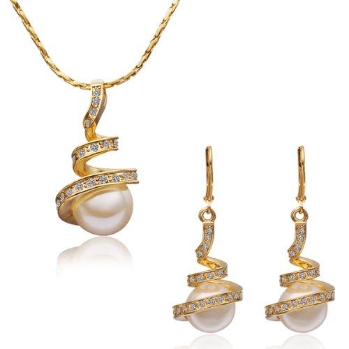 MARENJA-Cadeau Noël Parure Bijoux Fantaisie Femme-Collier Pendentif Perles avec Chaîne et Boucles d'Oreilles Pendantes-Bijoux Cristal en Plaqué Or Jaune
