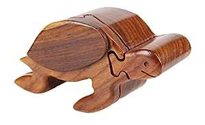 Puzzle bois numéro tortue coffret écrin à bijoux boîte à bijoux fait main à la pièce unique