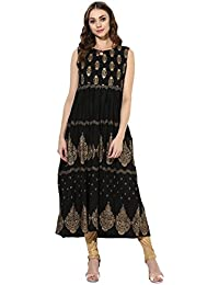 [Sponsored]Mytri Women's Black Rayon Printed A-Line Kurta