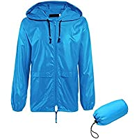 Chubasquero mujer lluvia Blue Coat impermeable con capucha impermeable impermeable a prueba de agua exterior protección ambiental con impermeable Poncho de lluvia multifuncional ( tamaño : XL )