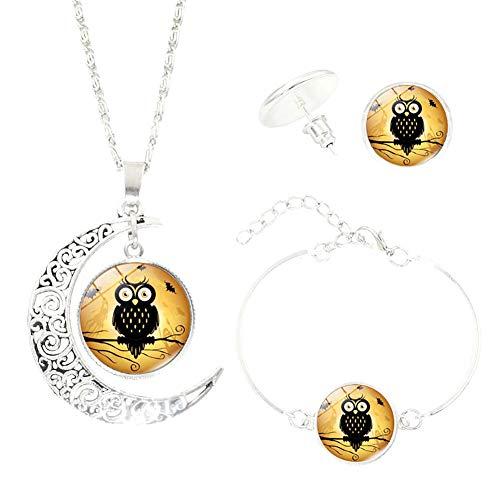 (nowbetter Anhänger Halskette Armband Ohrringe Set Halloween 5Kette Halskette Masquerade Ball Karneval Kostüm Party Supplies Jewelry Zubehör Geschenke Frauen Mädchen, Metalllegierung, Stil 2, 10.0 cm * 5.0 cm * 5.0 cm)