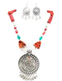 Oxidised German Silver/fashion/Antique/new Design Jewellery Multicolored Necklace Set For Women And Girls - B0789MCRT6