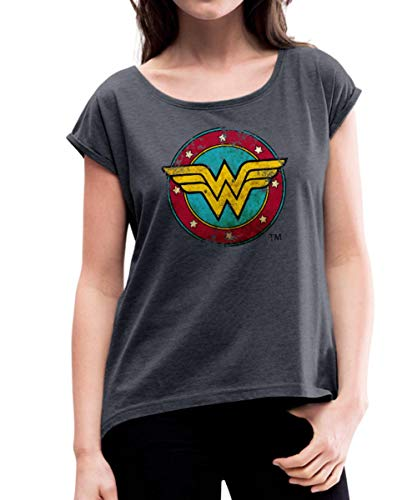 Spreadshirt DC Comics Wonder Woman Logo Used Look Frauen T-Shirt mit gerollten Ärmeln, M (38), Navy meliert - Für Woman Wonder T-shirts Frauen