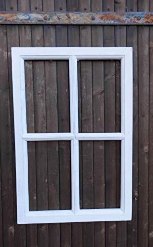 Deko-Impression Fenster Sprossenfenster Bilderrahmen Wanddekoration Holz Weiss 60 x 40