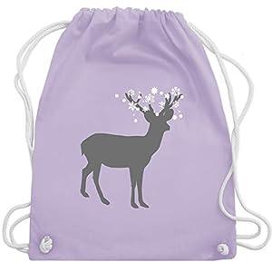 Weihnachten & Silvester - Rentier Schnee Eiskristalle - Unisize - Pastell Lila - WM110 - Turnbeutel & Gym Bag
