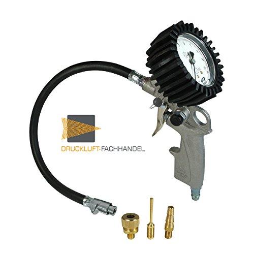 DF DF11917 Reifenfüller geeicht: Reifenfüllgerät mit Quik-Lok, 3er Adapter-Set